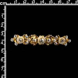 Broche mantilla 253, perla natural, cristal, oro.