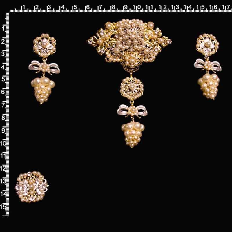 Aderezo racimo 9014, perla, oro