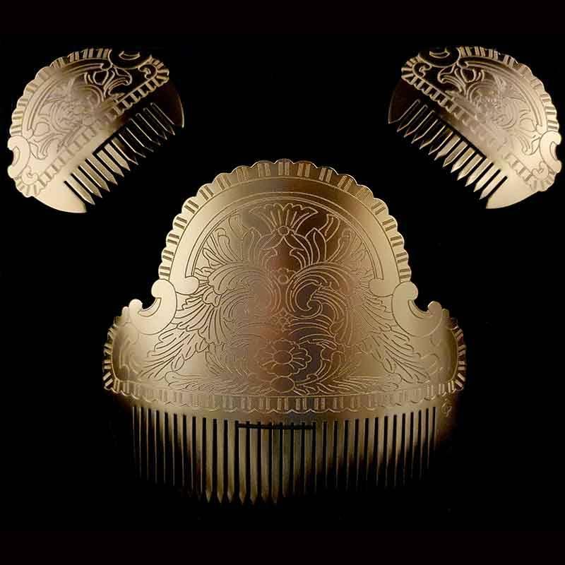 Peineta fallera 1083, flor agua, oro.