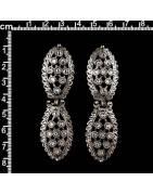 Pendientes hojas 537537, cristal, plata vieja.
