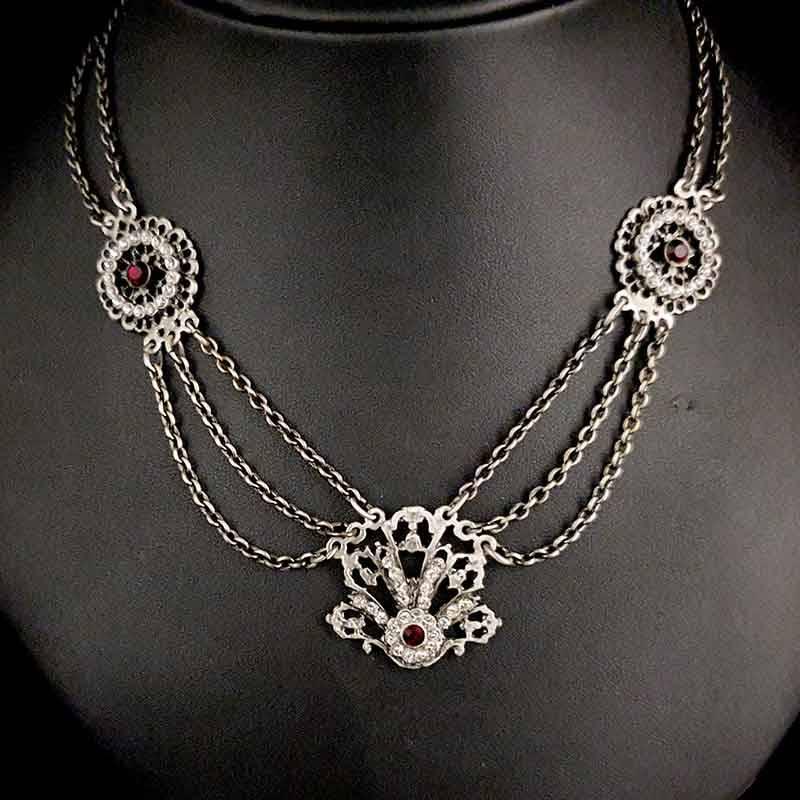 Collar fallera 13298, rubí, plata óxido.