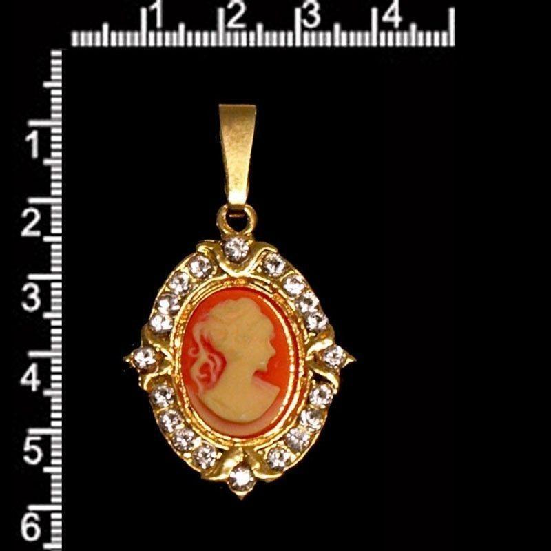 Colgante camafeo 11305, carneol, cristal, oro.