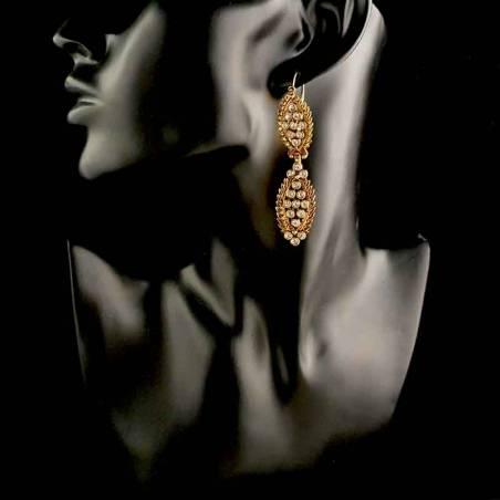 Pendientes 1627, cristal, oro viejo marrón