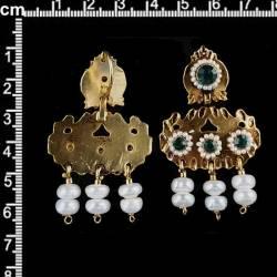Pendientes 268, barquillos, esmeralda, oro viejo