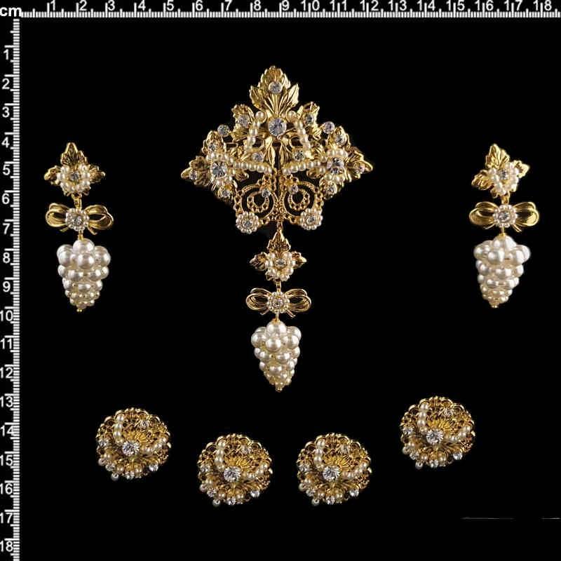 Aderezo de valenciana 8014, racimo, cristal, oro.