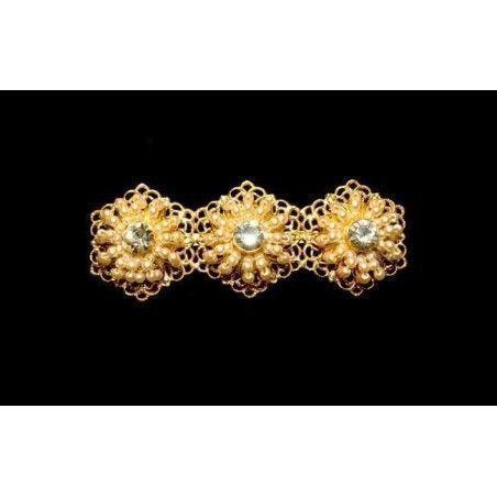 Broche mantilla 8001, cristal, oro.
