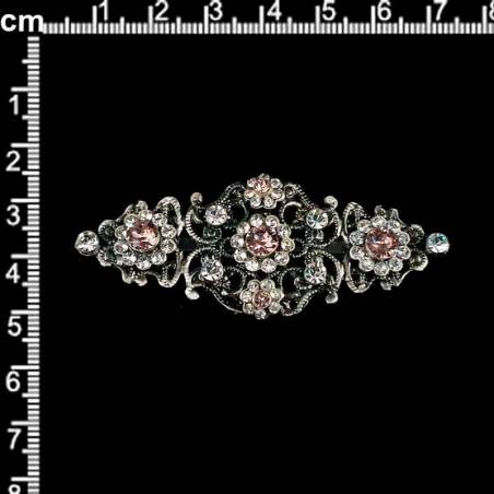 Broche 2104, rosa antiguo, plata óxido.