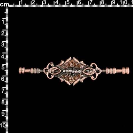 Aguja de pecho 14732, topacio ahumado, cobre óxido.