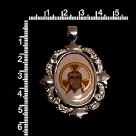 Colgante medallón Santa Faz 5410, cristal, rodio.