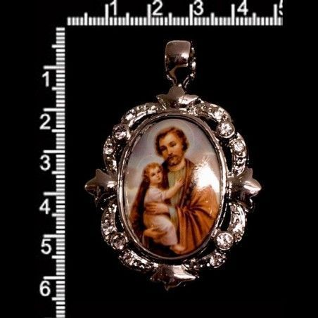 Colgante medallón San José 5410, cristal, rodio.