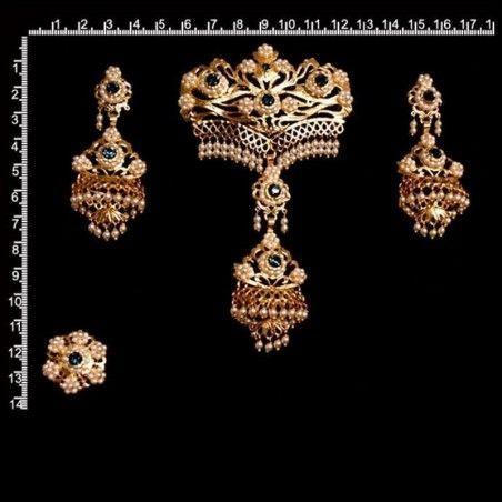 Aderezo de valenciana 992, montana, perla de imitación, oro.