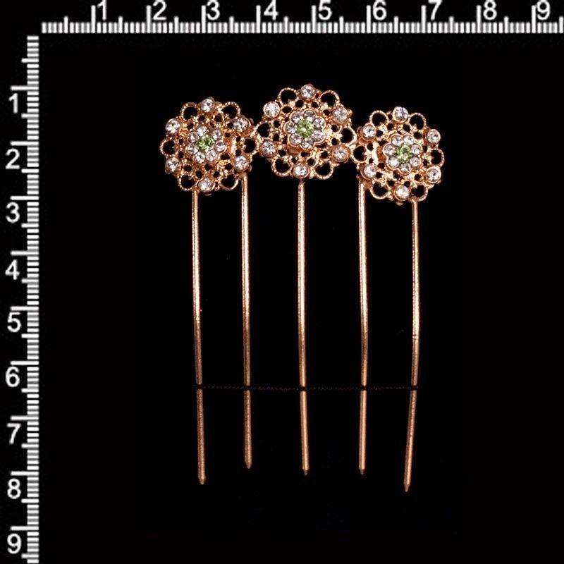 Peineta horquilla 2107, crisolite-cristal, oro rosa.
