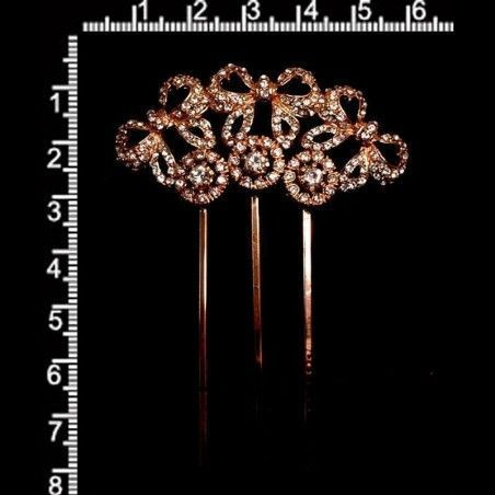 Peineta horquilla 15991600, cristal, oro rosa.