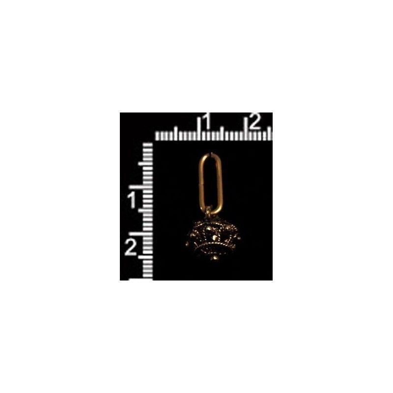 Botón manzaneta 10 mm, con anilla, oro viejo negro.