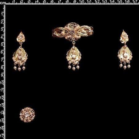 Aderezo de valenciana, 9703, cristal, oro.