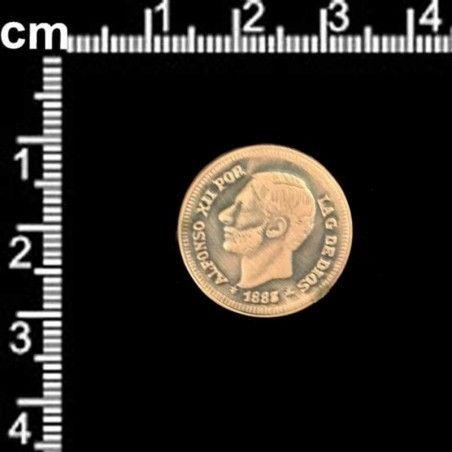 Botón 3166, Alfonso XII, latón óxido.