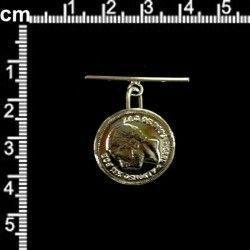 Botón 3166, Alfonso XII, pasador, oro.