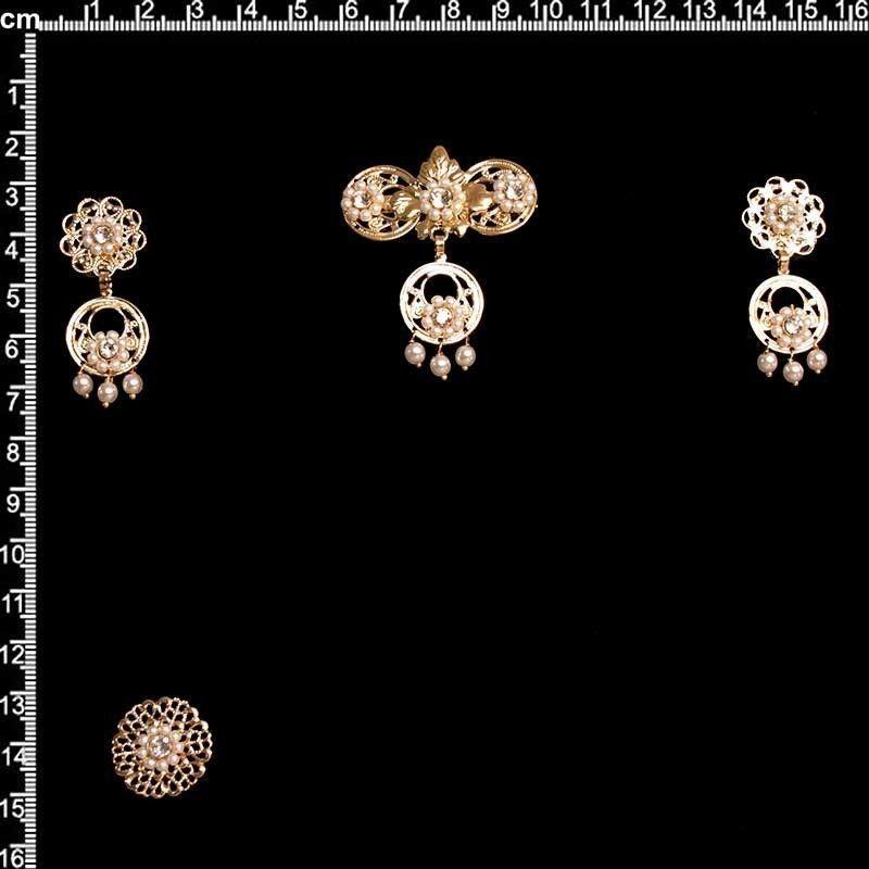 Aderezo de valenciana 9605, cristal, oro.