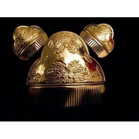 Juego de peinetas de valenciana A16, oro.