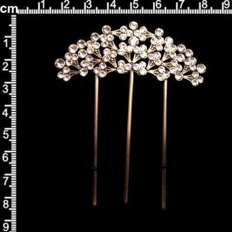 Peineta horquilla 2303, cristal, latón óxido.