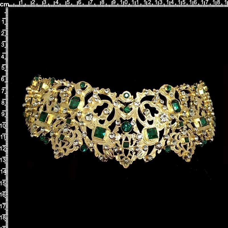 Peineta 801 para aderezo de castellonera, esmeralda-cristal, oro.