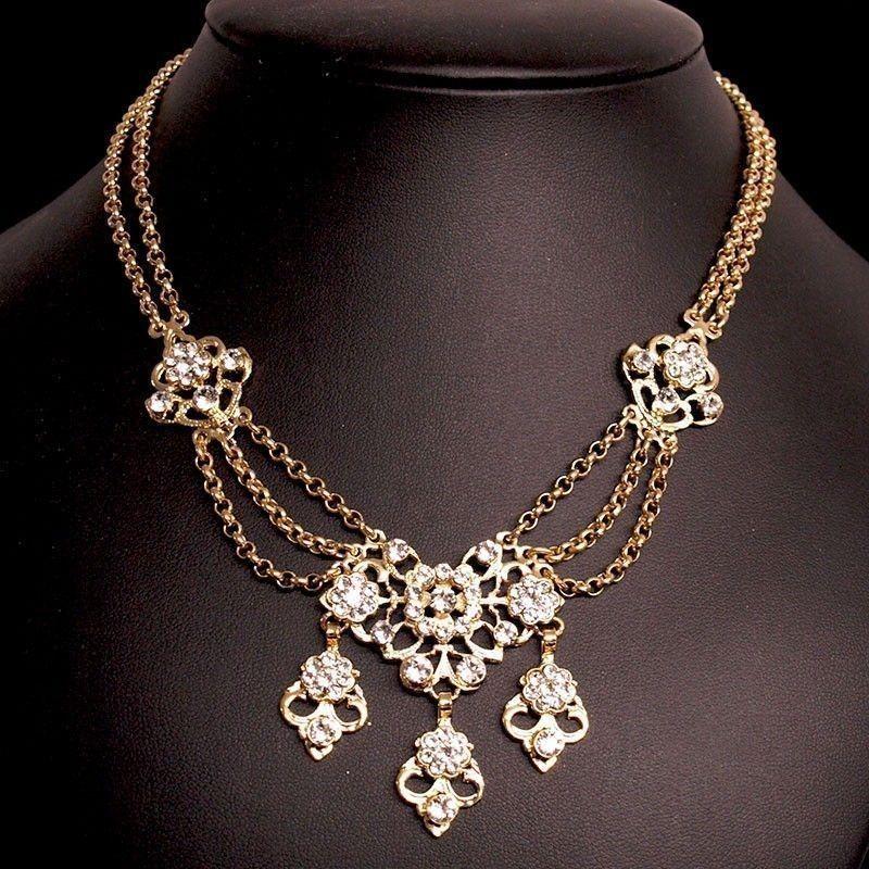 Collar 2103, cristal, oro.