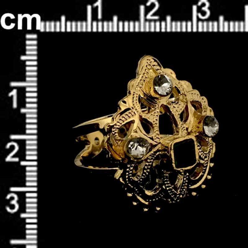 Sortija 801, esmeralda-cristal, oro.