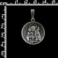 Medalla San José 25 mm, plata óxido.