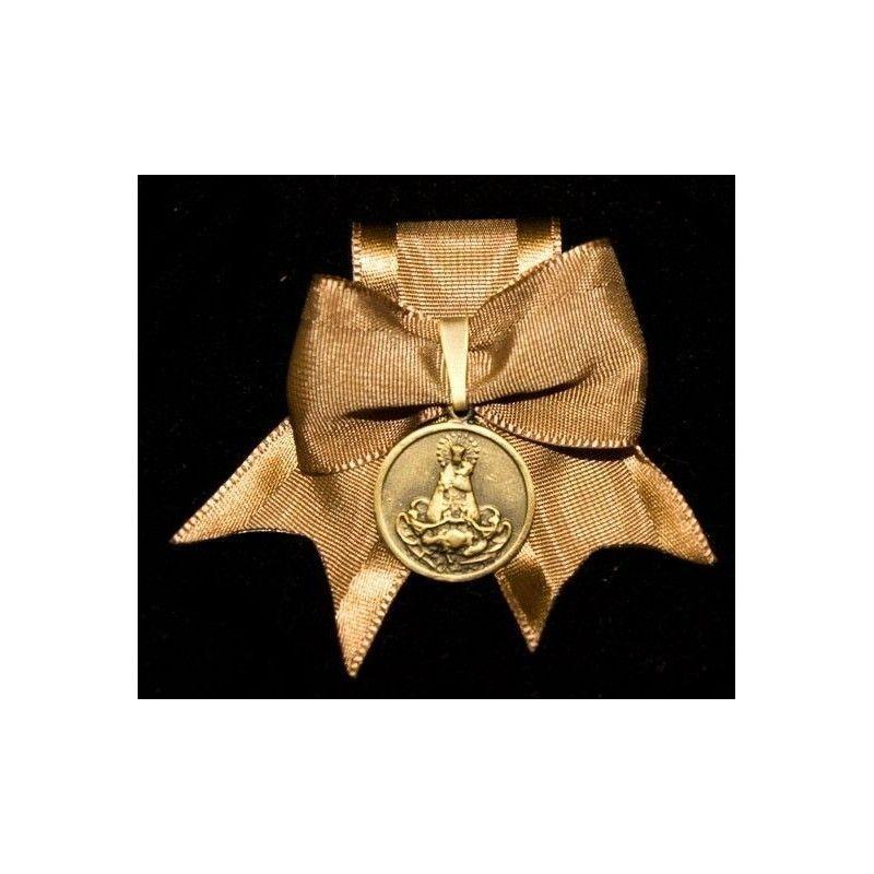 Caramba medalla Desamparados de 20 mm, latón óxido, cinta café.