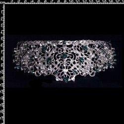 Peineta de castellonera 9708, emeralda-cristal, rodio.