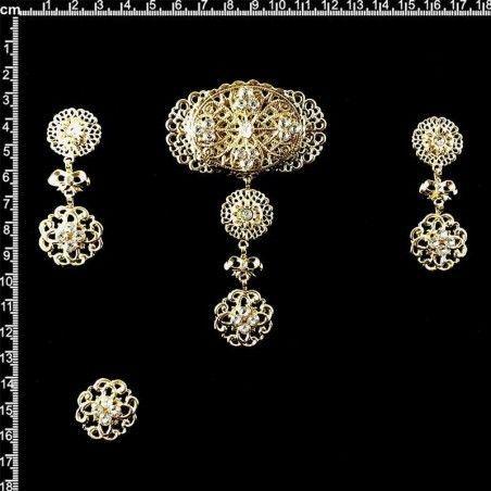 Aderezo de valenciana 9707, cristal, oro.