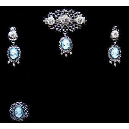 Aderezo fallera 80A5, azul, cristal, níquel.