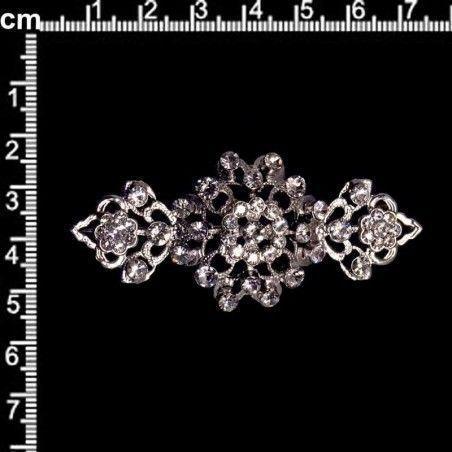 Broche de mantilla 2103, cristal, rodio.