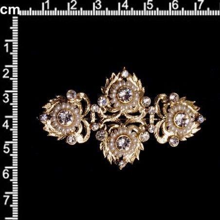 Broche mantilla 997, cristal, oro, perla natural.