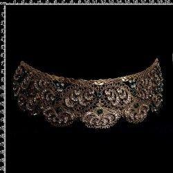 Peineta de castellonera 9806, esmeralda-cristal, oro viejo negro.