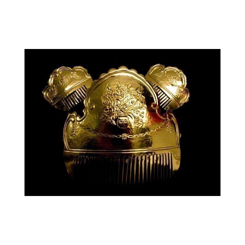 Peineta fallera 114, jarrón, oro.