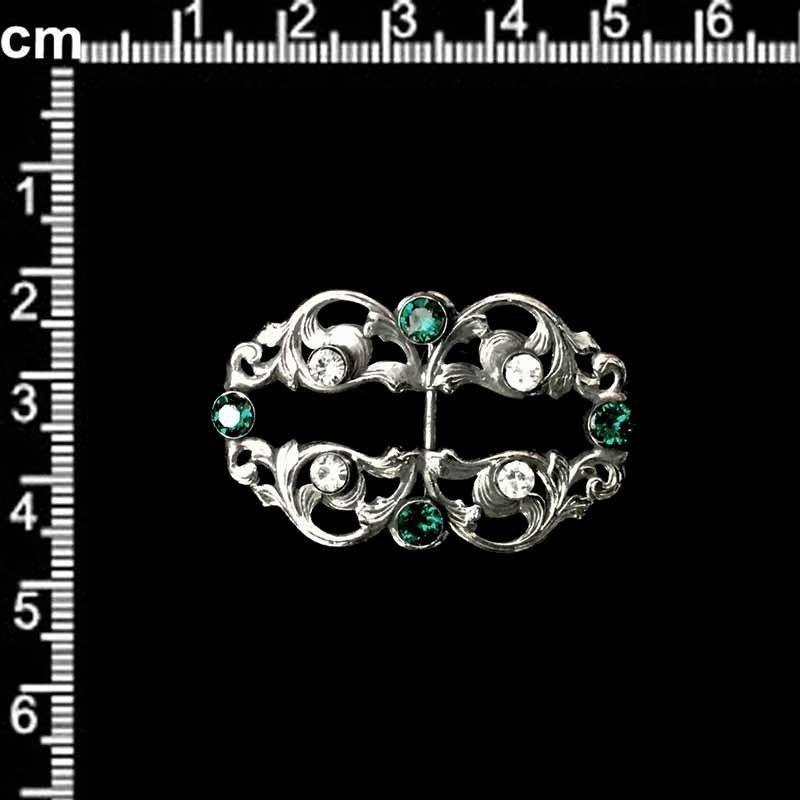 Hebilla 2305, esmeralda, plata vieja.
