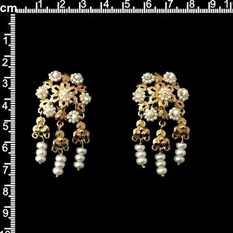 Juego pendientes 905, polcas, perla natural, oro.