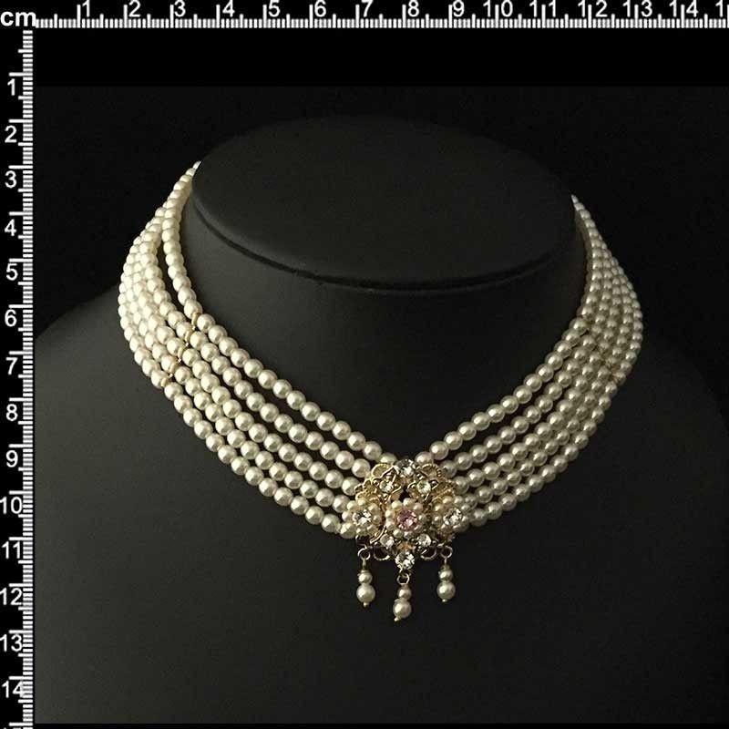 Collar 9603, 1 centr. 5 vueltas, ligth rosa, oro.
