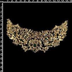 Peineta castellonera 312, esmeralda-cristal, oro.