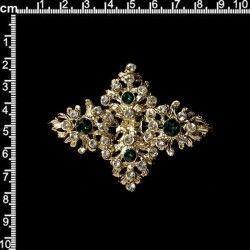 Broche mantilla 312, esmeralda-cristal, oro.