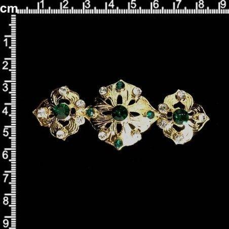 Broche mantilla 994, esmeralda-cristal, oro.
