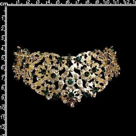 Peineta de castellonera 994, esmeralda-cristal, oro.