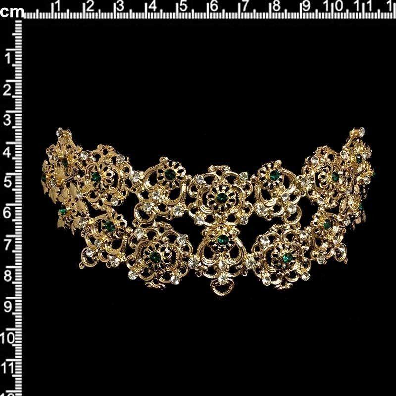 Peineta de castellonera 2105, esmeralda-cristal, oro.
