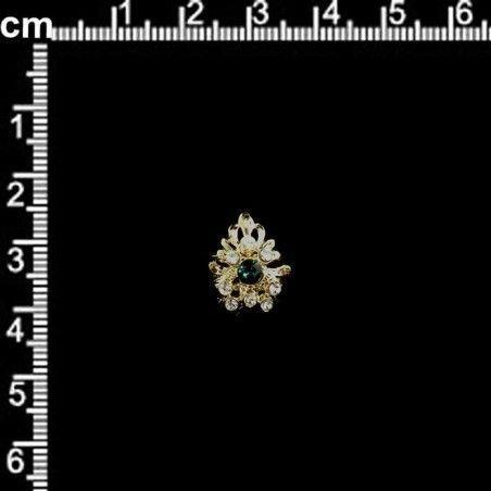 Sortija 312, esmeralda-cristal, oro.