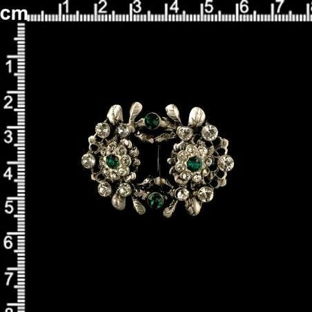 Hebilla de zapato 2008, esmeralda-cristal, plata óxido.