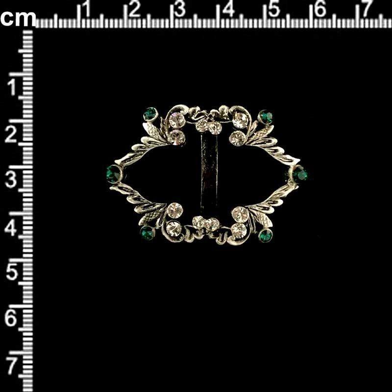Hebilla 313, esmeralda-cristal, plata óxido.