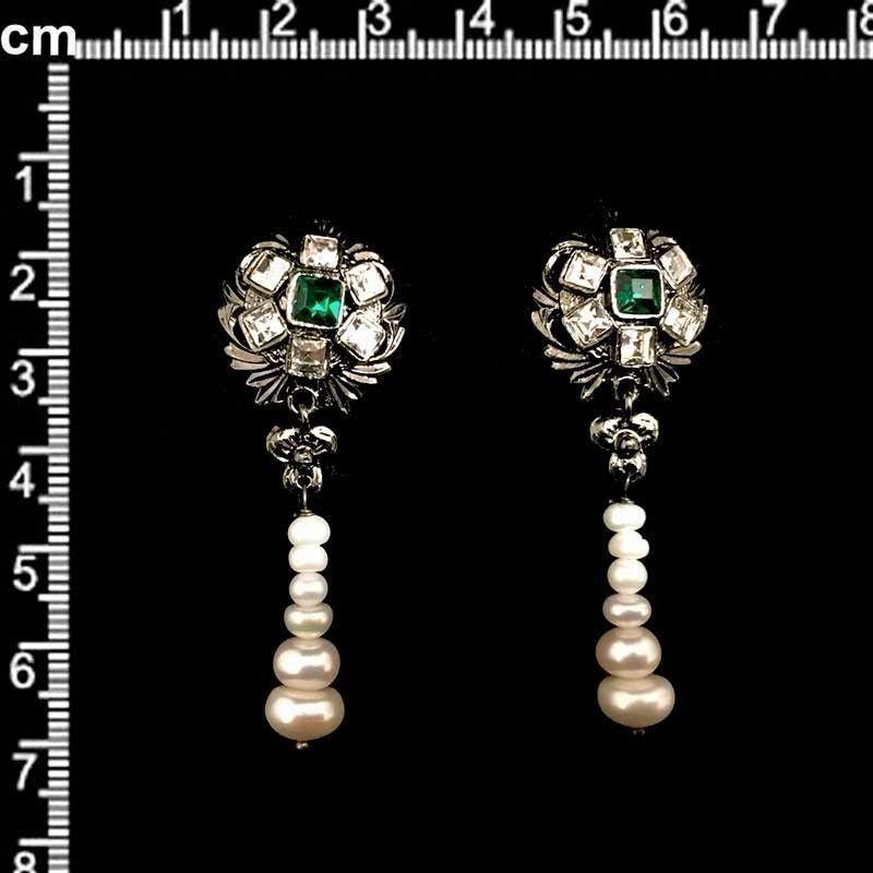 Juego de pendientes 333, esmeralda-cristal, rutenio.