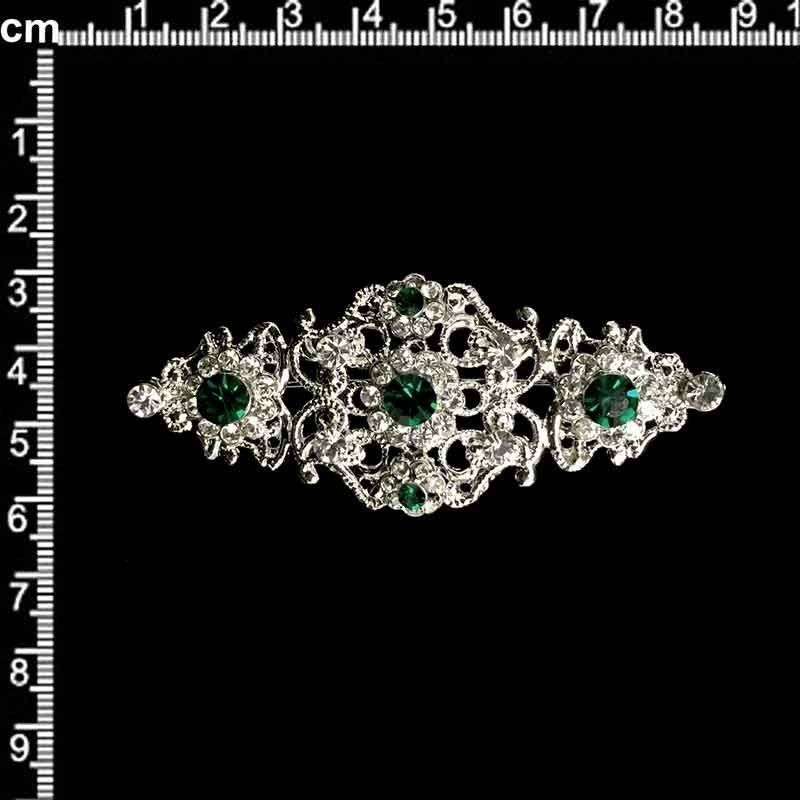 Broche mantilla 2104, esmeralda, plata.