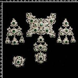 Aderezo de valenciana 2104, esmeralda-cristal, plata.